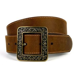 BRIGHTON Square Buckle Gen Leather Fashion Belt